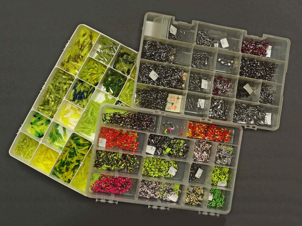 Assorted Painted Micro Crappie Jig Heads and Micro Tubes.