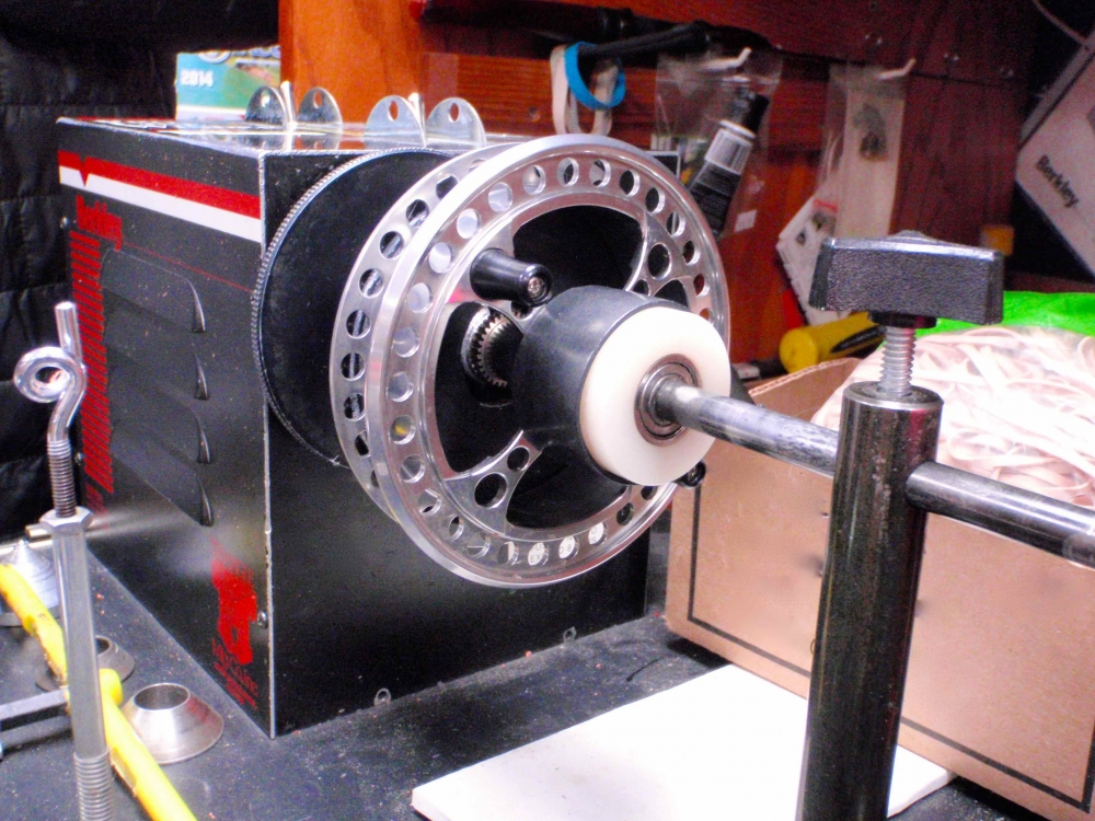 Line Spooling Machine being used for A Raven Centerpin Float Reel.